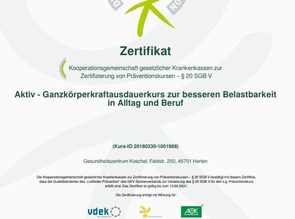 Zertifikat §20 neu